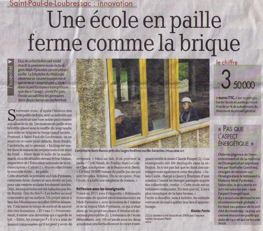 2014-04-29_La Dépèche_La Nouvelle Ecole construite en paille p3_Article